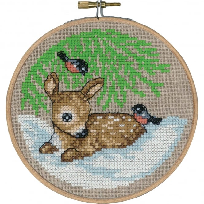 13-6243 Permin Roe Deer Cross Stitch Kit