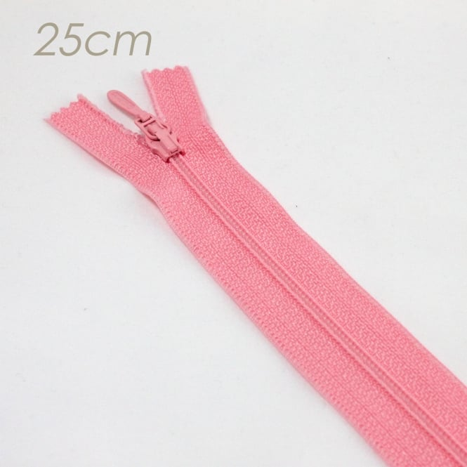 25cm Standard Polyester Zip - Light Pink