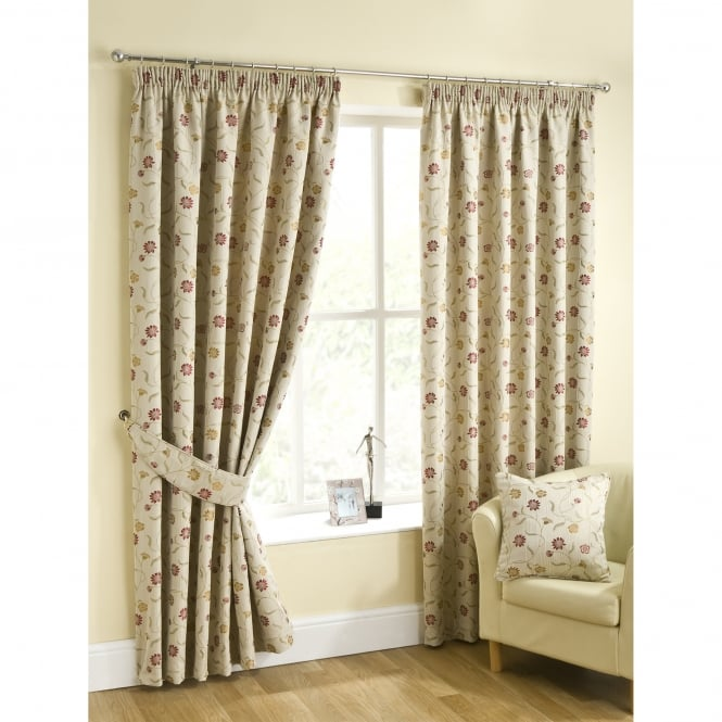 Amelia Ruby Floral Chintz Ready Made Curtains
