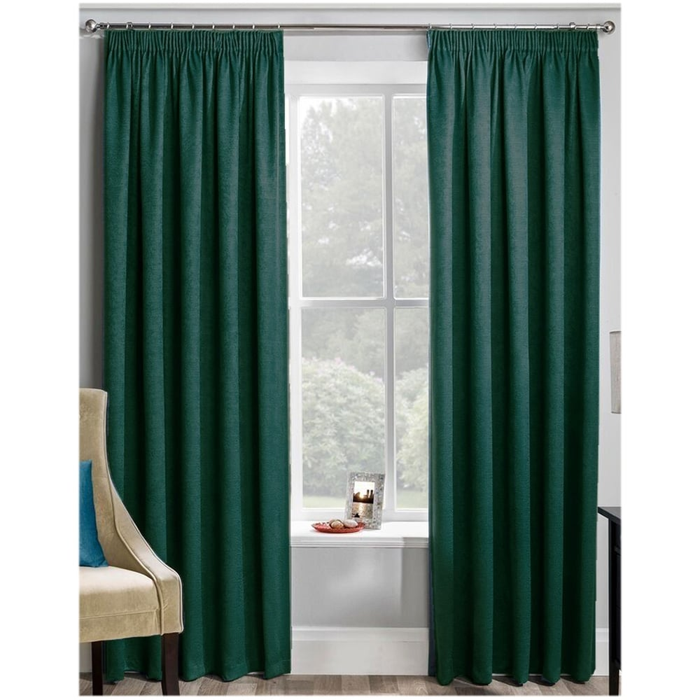 Artemis plain velvet forest green ready made curtains c h for Forest green curtains drapes