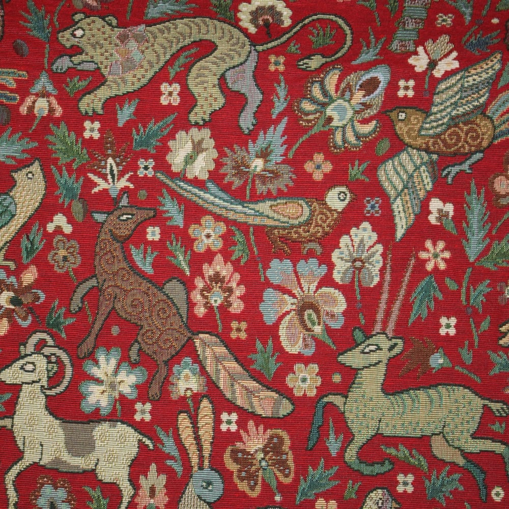 Marson Imports Bangalore Tapestry Red Curtain Fabric