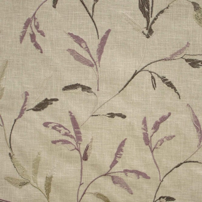 Belfield Furnishings Norella Mauve Embroidered Leaf Curtain Fabric