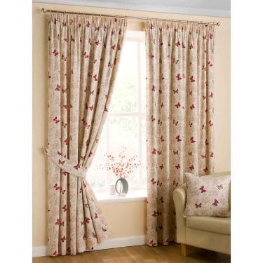 Mariposa Butterfly Red Ready Made Curtains