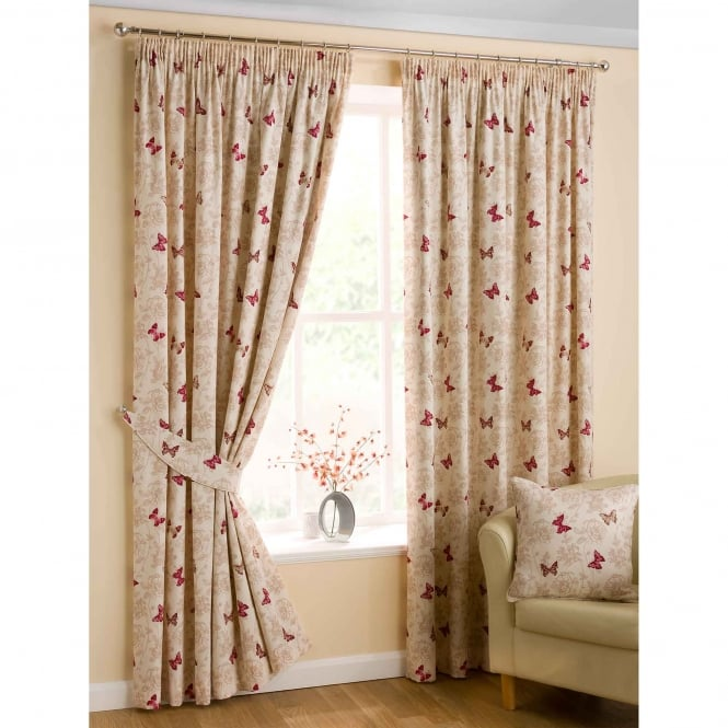 Belfield Mariposa Red Ready Made Curtains