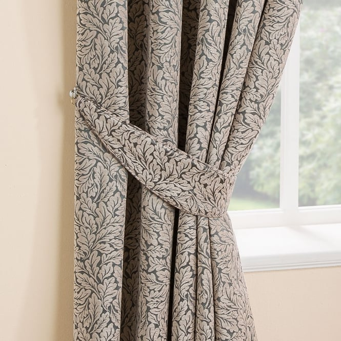 Belfield Oak Leaf Pattern Grey Curtain Tiebacks