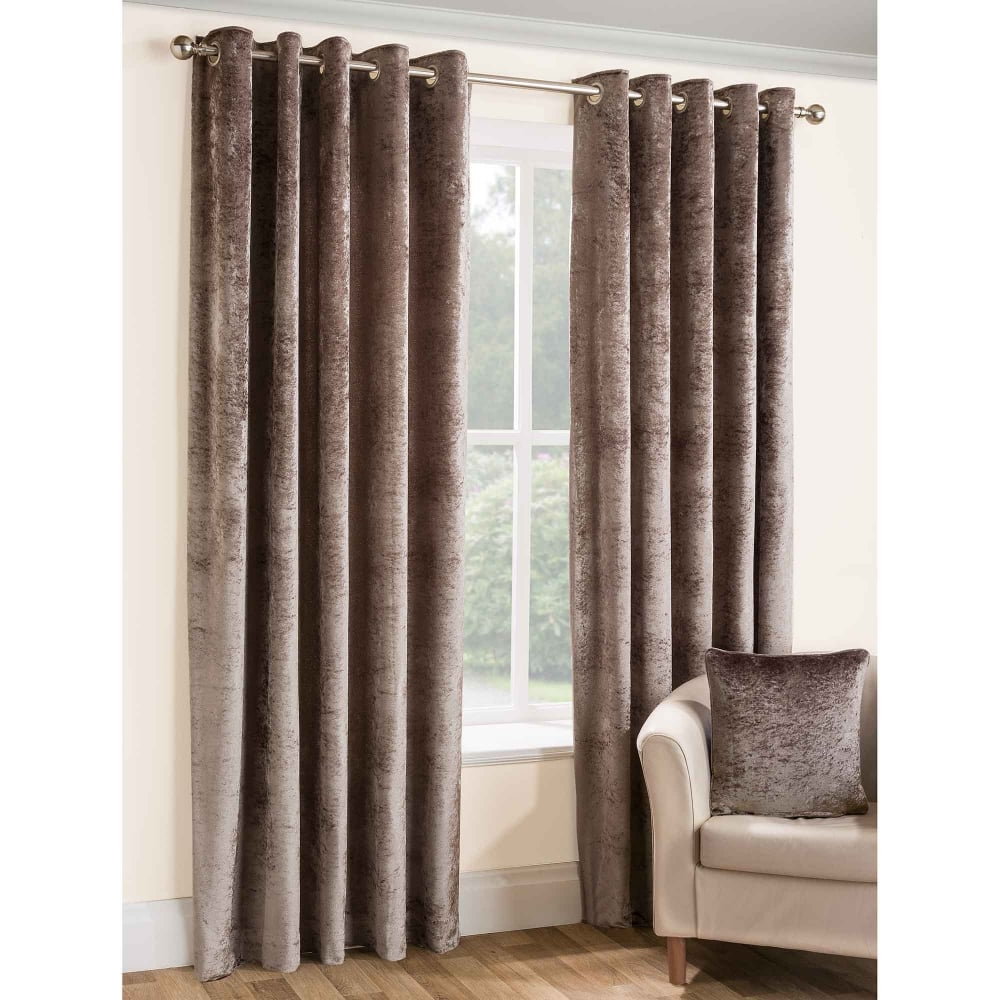 Opulence Eyelet Ready Made Curtains Brown | Closs & Hamblin
