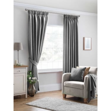 Oxford Textured Plain Grey Ready Made Curtains