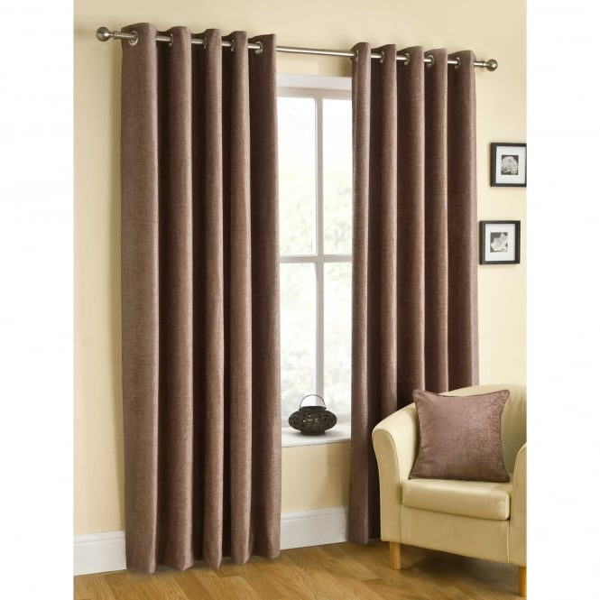 Belfield Rico Eyelet Mink Brown Ready Made Curtains
