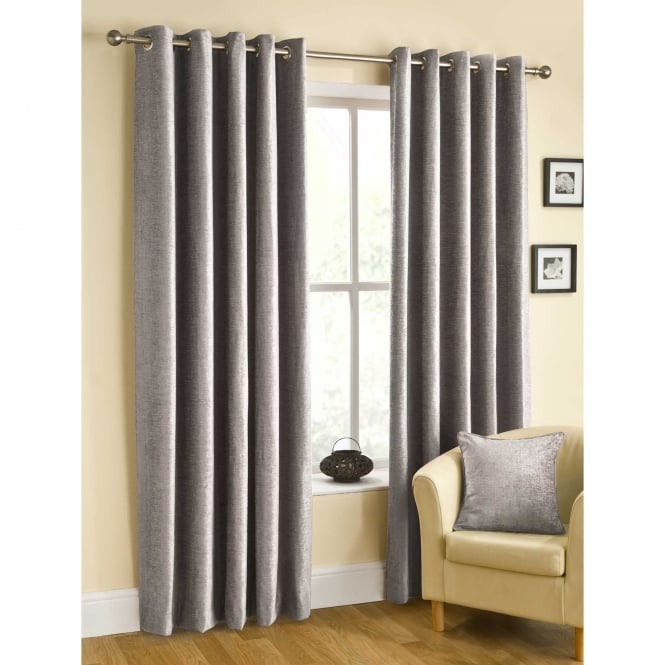 Belfield Rico Eyelet Silver Grey Ready Made Curtains