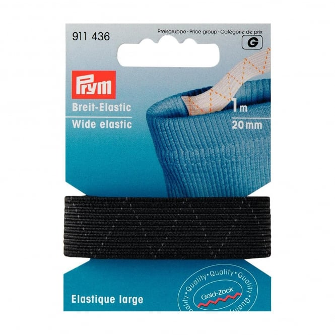 Black Wide Elastic - 20mm