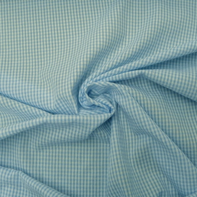 Blue Baby Seersucker Gingham Fabric