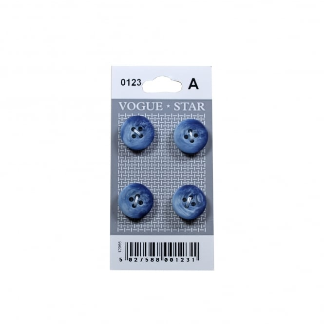 Blue Marble Effect Buttons 0123 (Pack/4)