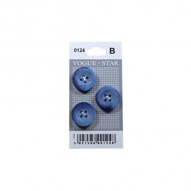 Blue Marbled Buttons 0124 (Pack/3)