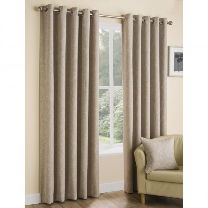 Boucle Parchment Plain Natural Ready Made Eyelet Curtains