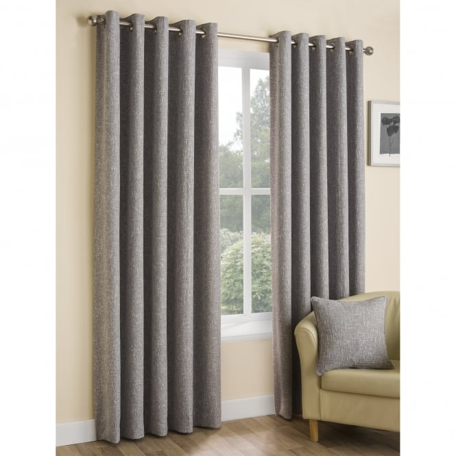 Boucle Plain Ash Grey Eyelet Ready Made Curtains - 117 x 137cm