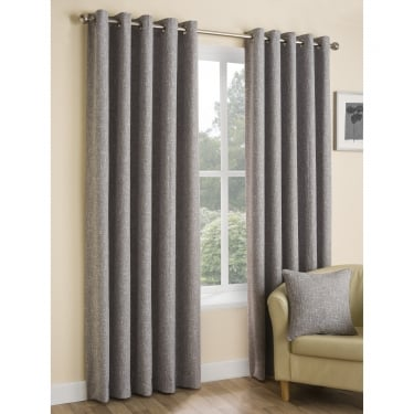 Boucle Plain Ash Grey Eyelet Ready Made Curtains