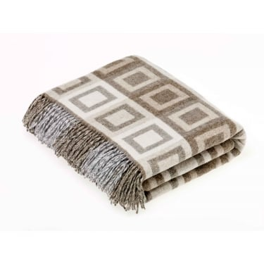 Bronte by Moon Natural Double Square Lambswool Throw