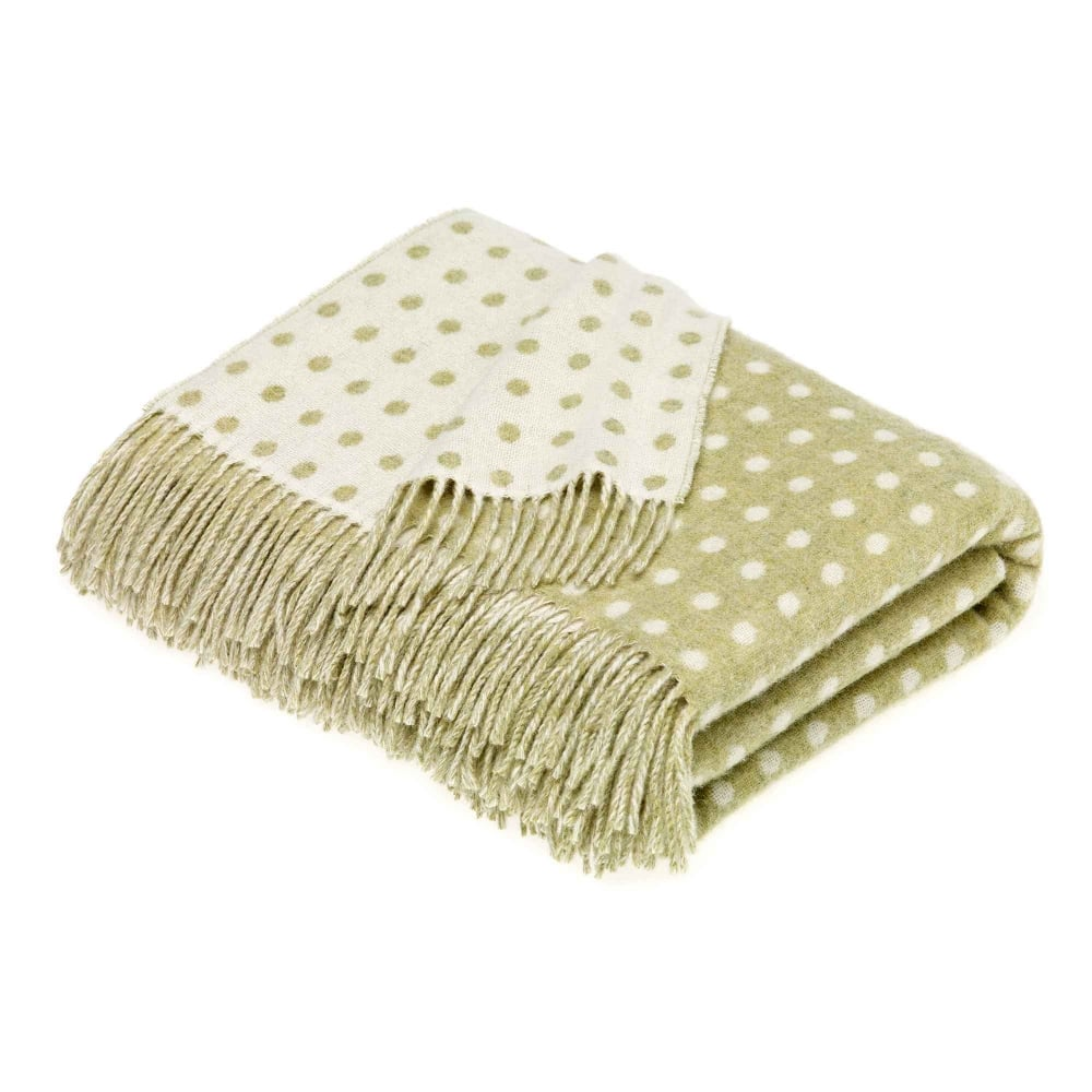 Bronte by Moon Sage Green Spot Lambswool Throw | Closs