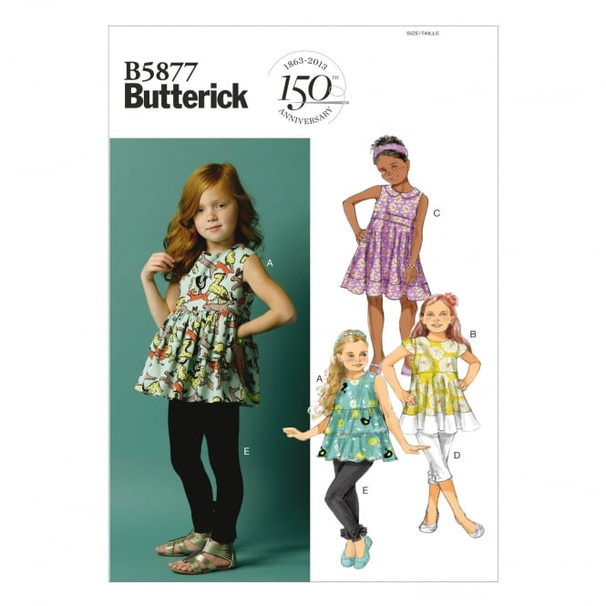 Butterick Sewing Pattern 5877 Size 2 - 5 years