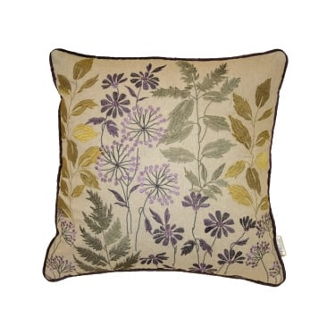 Botanical Violet Floral Square Cushion