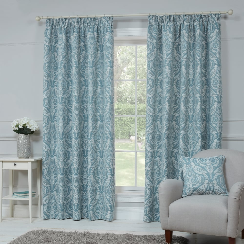 dovecote egg shell blue bird ready made curtains closs. Black Bedroom Furniture Sets. Home Design Ideas