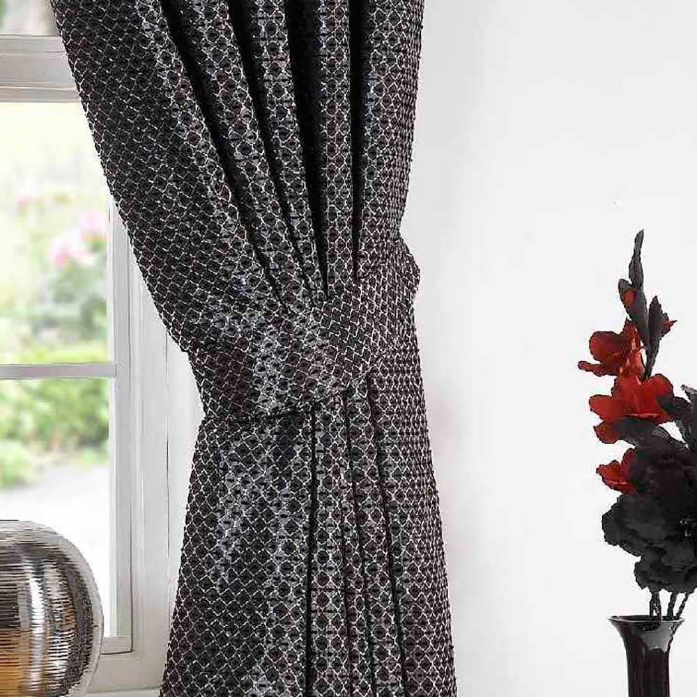 Sicily Black Textured Ready Made Curtains