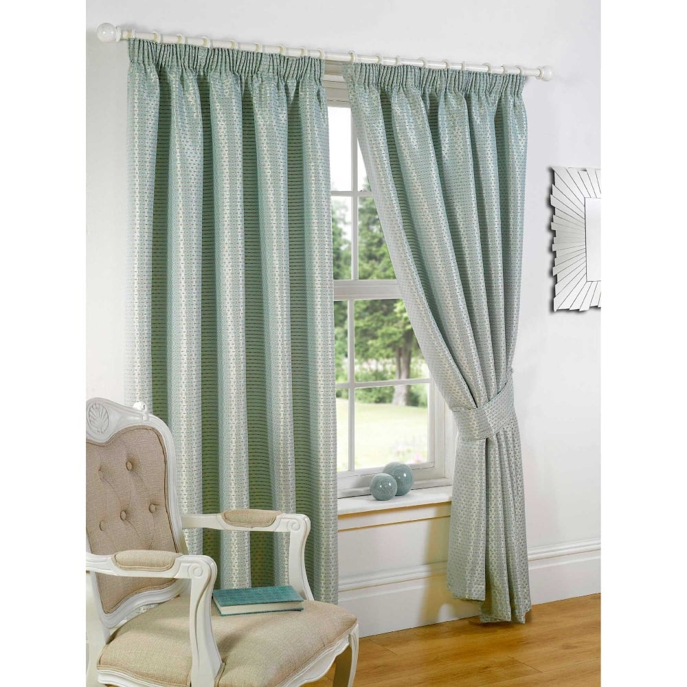 Sicily Duck Egg Textured Ready Made Curtains