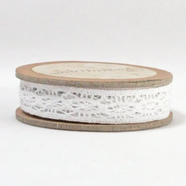Cotton Lace Ribbon 12mm x 5m - White