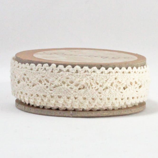 Cotton Lace Ribbon 18mm x 5m - Cream