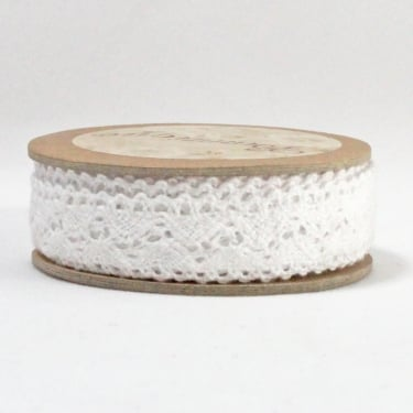 Cotton Lace Ribbon 18mm x 5m - White