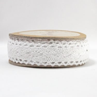 Cotton Lace Ribbon 20mm x 5m - White