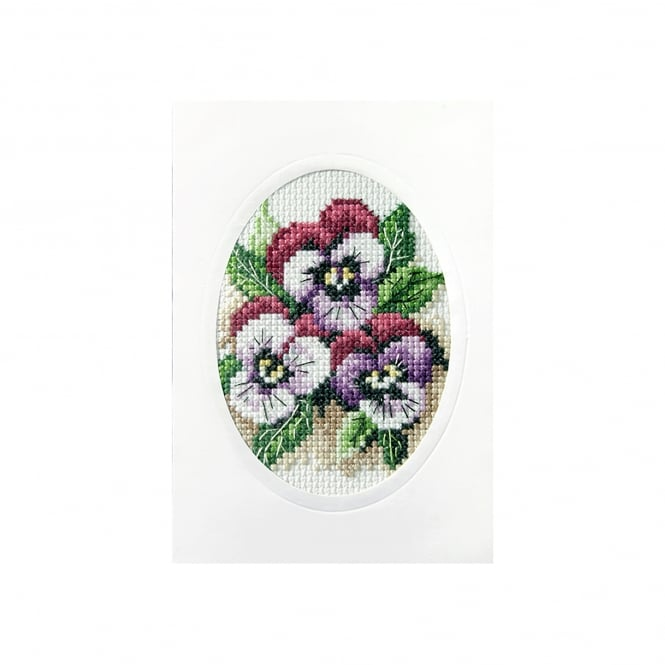Cross Stitch Card Kit - Pansies
