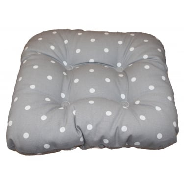 Dotty Grey Chunky Piped Seat Pad