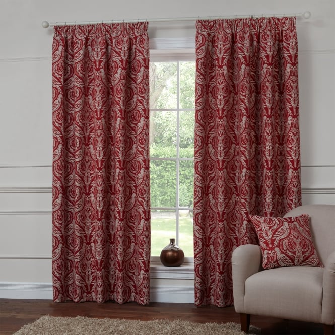 Dovecote Autumn Red Bird Ready Made Curtains
