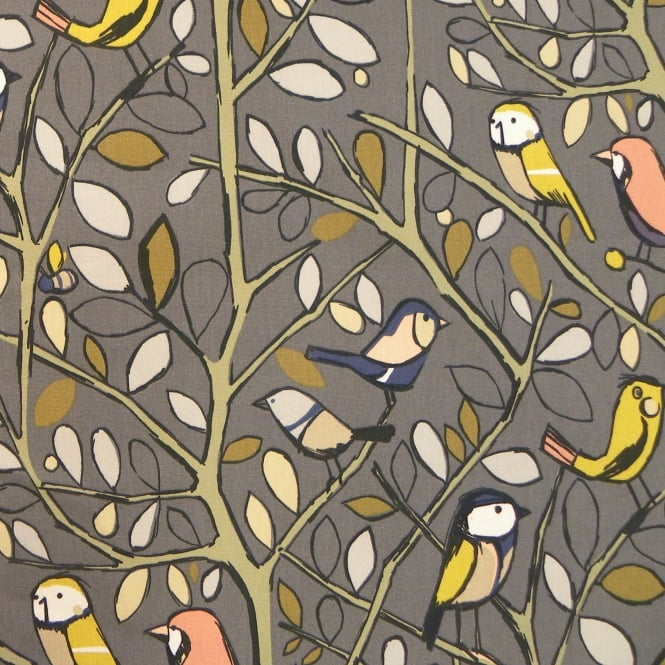 Edinburgh Weavers Tweety Charcoal Cotton Bird Print Curtain Fabric