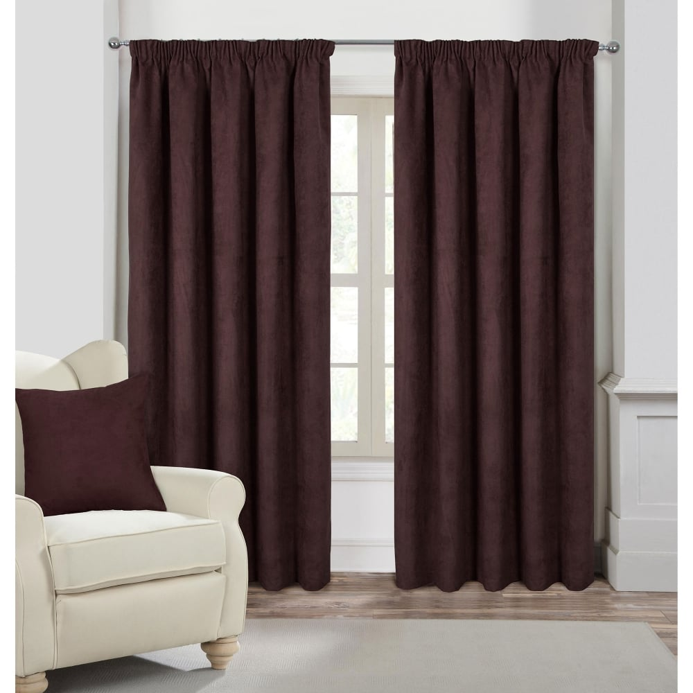 Faux Suede Chocolate Ready Made Curtains Brown Closs