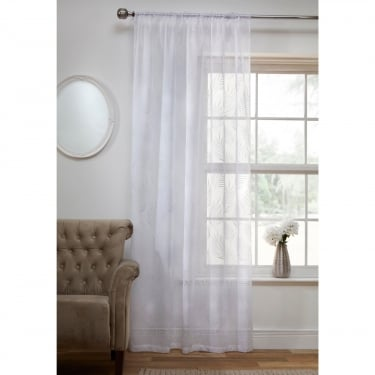Fern White Voile Curtain Panel