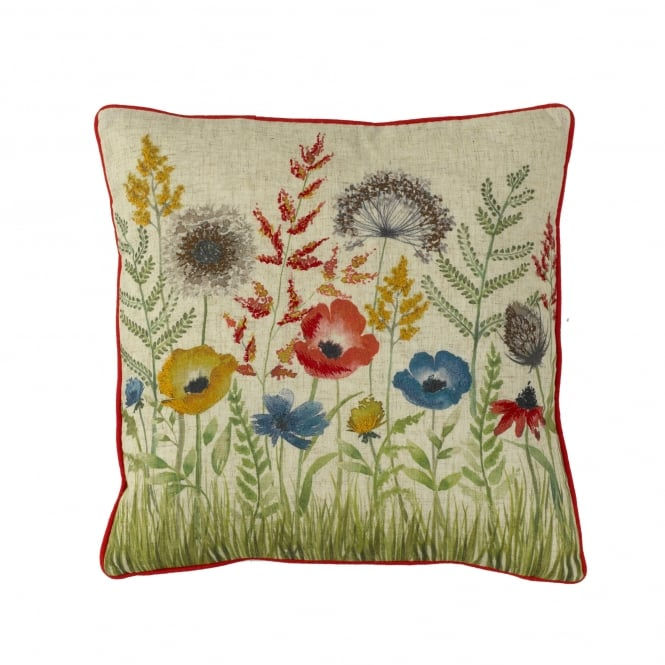 Florence Red Floral Square Cushion