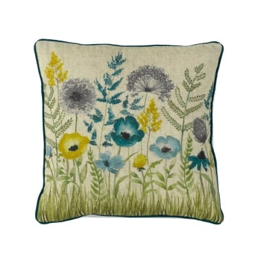 Florence Teal Floral Square Cushion