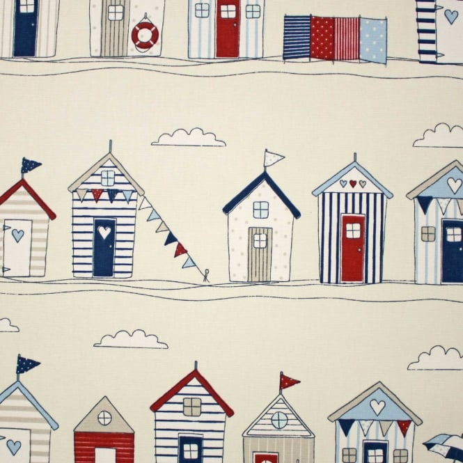Fryetts Beach Huts Red/Blue Cotton Curtain Fabric