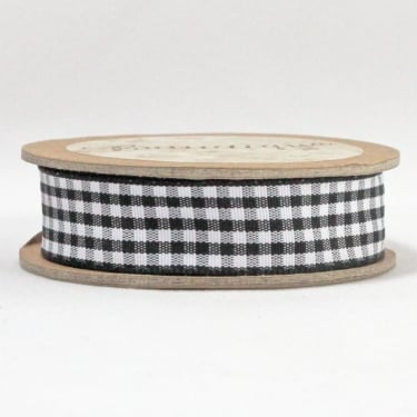 Gingham Ribbon 15mm x 5m - Black