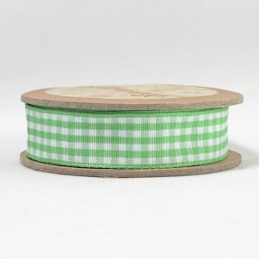 Gingham Ribbon 15mm x 5m - Green