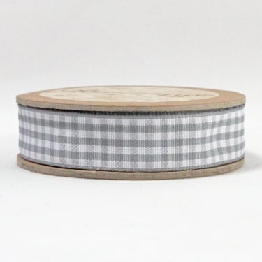 Gingham Ribbon 15mm x 5m - Grey