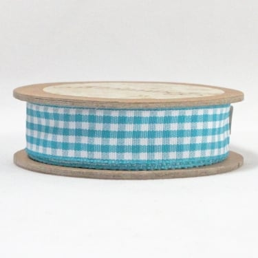 Gingham Ribbon 15mm x 5m - Teal