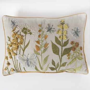 Grasmere Embroidered Floral Cushion