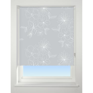 Grey Floral Cluster Blackout Roller Blind - 60cm