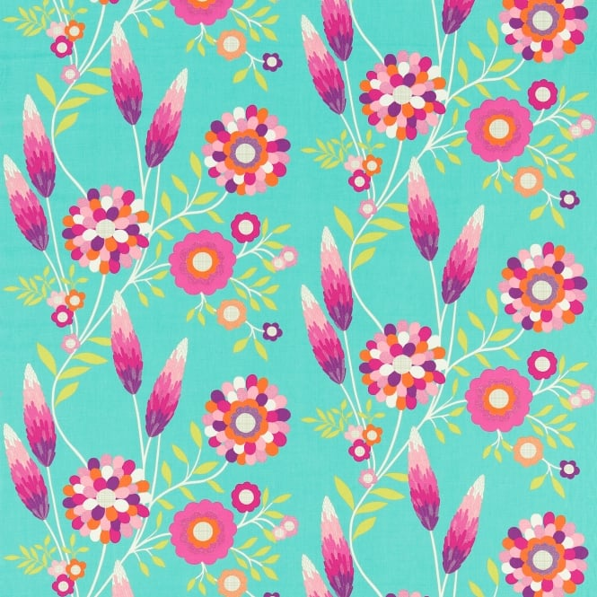Harlequin HKID120220 Funky Flowers Turquoise/Pink/Orange/Lime