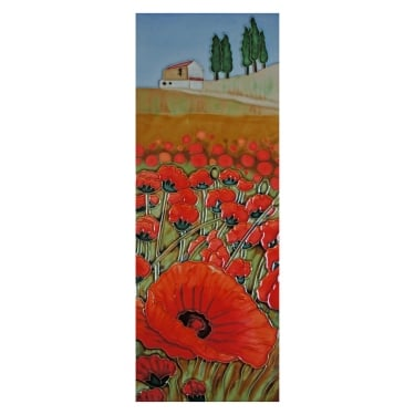 Hillside Poppies Art Tile