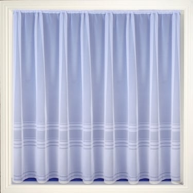 Hudson White Stripe Net Curtain
