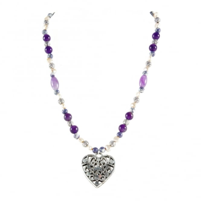"Iris Amethyst Pearl & Bead 18"" Heart Necklace"